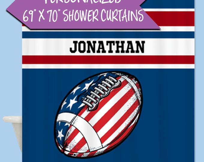 Custom American Football Shower Curtain | Personalized Name Shower Curtain | Personalized Gift for Him | Football Shower Curtain