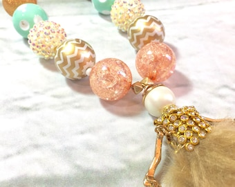 Fashion girl. Kids jewelry. Mint. Coral. Gold. Sunglasses. Gift for girls. Bubblegum bead necklace. Birthday party. One of a kind.