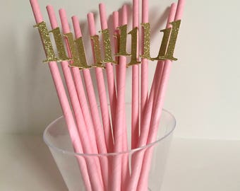 12 Paper Straws with Age 1 | Glitter | 7 3/4""