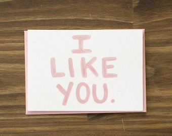 pink i like you block letters
