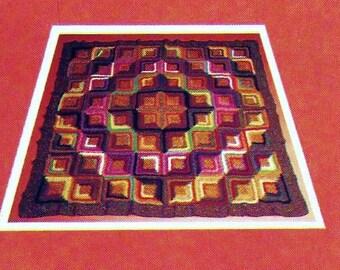 Log Cabin Afghan Vintage Crochet Pattern Instant Download