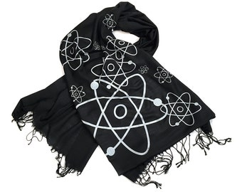 Atom scarf. Atomic print pashmina. Science teacher, nuclear physics gift. Silkscreened linen weave pashmina.