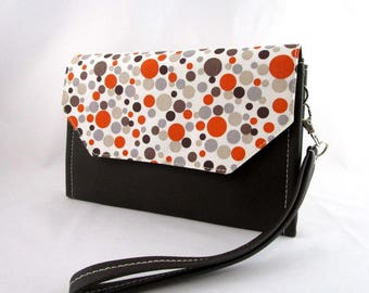 Wallet/clutch in faux leather fabric and chocolate bubbles