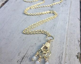Gold Stitch Marker Holder Necklace