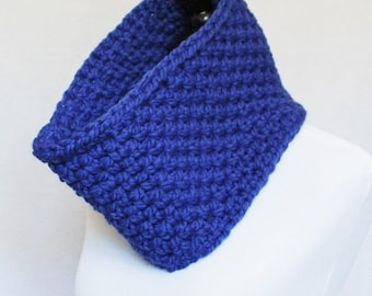 SALE Blue Crochet Cowl, Chunky Neck Warmer, Short Infinity Scarf, Royal Blue Crochet Collar Scarf