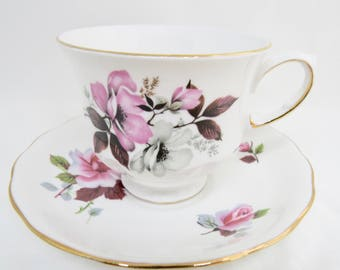 Queen Anne Tea Cup and Saucer,  Pink and White Flowers, Pattern 8473, Bone China