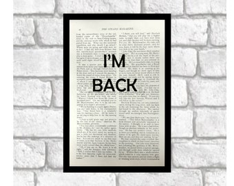 Moriarty Quirks and Quotes Upcycled Book Print ~ I'm Back ~ Sherlock/Moriarty Fan Print Art ~ Jim Moriarty