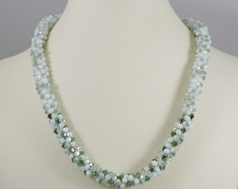 Kumihimo Necklace Green Opal Crystal