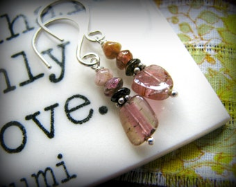 Pink Watermelon Tourmaline Dangle Earrings - October Birthstone Sterling Silver Gift Birthday Daughter Girlfriend Sister Best Friend Mother