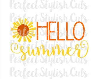 Hello Summer SVG, DXF, EPS, png Files for Cutting Machines Cameo or Cricut - Sunshine Svg, Beach Svg, Pool Svg