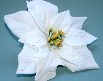 3 White Poinsettia - Artificial Flowers, Holiday Flowers