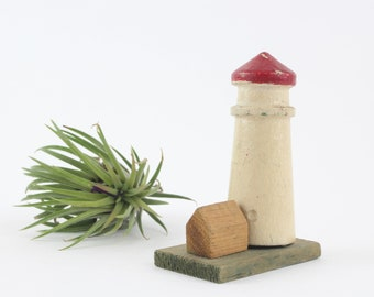 Vintage Miniature Wooden Lighthouse - Nautical Decor Diorama