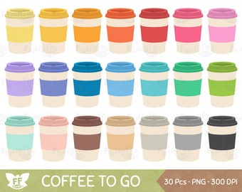 Coffee To Go Clipart, Coffees Paper Cups Clip Art, Rainbow Morning Hot Tea Beverage Drink Cute, PNG Graphic Download, Commercial Use