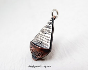 silver and copper SailBoat 2 mixed metal charm or pendant made to order