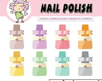 50%off Nail Polish DIGITAL CLIPART, fingernail polish clip art, digital sticker, can be used with Goodnotes, crafting, scrapbooking