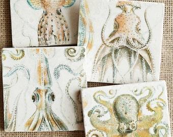 Octopus- Coasters, Octopus Decor, Beach Decor, Ocean Decor, Ocean Gift, Beach Gift, Sea Life Decor, Sea Life, Tile, Beach House Decor