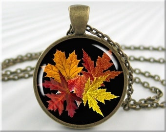 Fall Leaves Necklace, Fall Season Pendant, Resin Picture Charm, Autumn Jewelry, Round Bronze, Gift Under 20, Autumn Season Gift 003RB