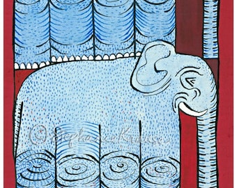 """Double Elephant - 8"""" x 10"""" matted, signed digital Giclee print from original artwork"""