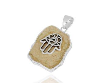 Unique silver pendant design with Natural stone and Hamsa synbol aka Fatimas Hand