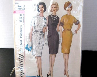 1960s Simplicity pattern 4793  size 12 bust 32 one piece dress printed cut