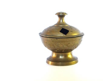 Vintage small brass incense burner from India/Etched Brass Incense burner from India/Small Brass incense burner/Small Vintage Incense burner