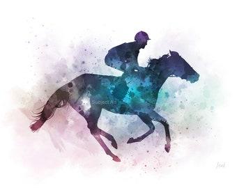 Horse racing ART PRINT illustration, Jockey, Watercolour, Sport, Wall Art, Home Decor, Gift