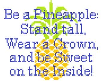 Pineapple Quote Cross Stitch Pattern