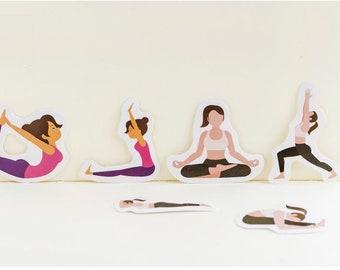 Paper Deco Label Seal Set - Yoga - 45 Pcs