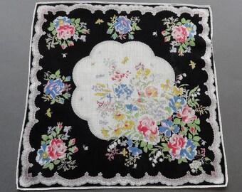 Retro Flowers - Vintage 1950s Floral Cotton Hankie Handkerchief