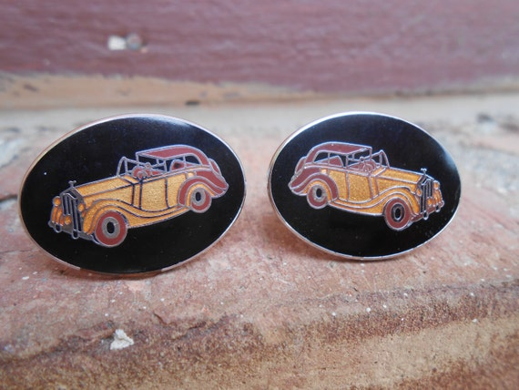 Vintage Car Cufflinks. Enamel. Duesenberg. Wedding, Men's Christmas Gift, Dad.  Gold Tone. CUSTOM ORDERS Welcome