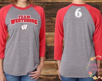 """Team Westshore Baseball Raglan - Logo with """"W"""""""