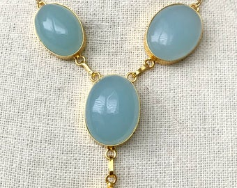 Aqua Chalcedony Necklace | Statement Necklace | Mother of the bride | Workwear, Blue, Gold | Gift for Mom, 14k Gold
