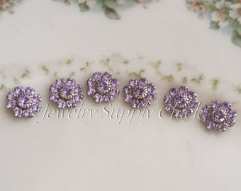 Violet Swarovski crystal flower silver (x6+)