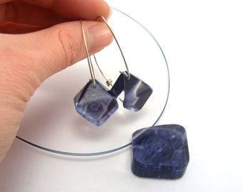 Perspex Jewellery Set, Blue Earrings and Necklace Diamond Shape