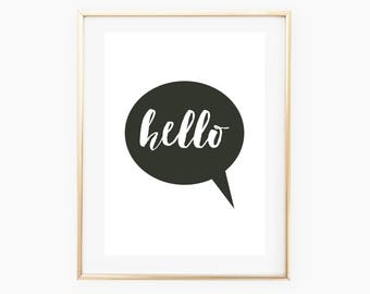 Hello Wall Art, Hello Printable, Hello Decor, Digital Print, Digital Download Art, Hello Art, Wall Print Download, Hello Nursery, Hello Art