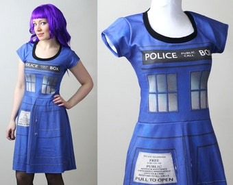 DOCTOR WHO Tardis police box dress with sleeves - custom - smarmyclothes cosplay costume