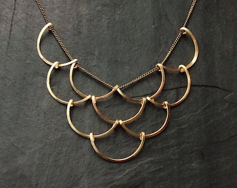 Gold Geometric, Scales Necklace, Loop Jewelry, crescent, circles, deco, architectural jewelry, sterling silver, gold fill, rose gold fill