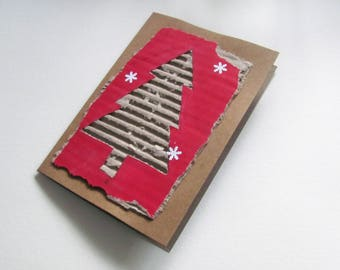 Handmade Christmas Kraft Card, Tactile, Recycled, Artisan