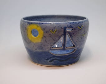 Ceramic Sailboat Candle Holder/Yarn Bowl Home Decor Gifts