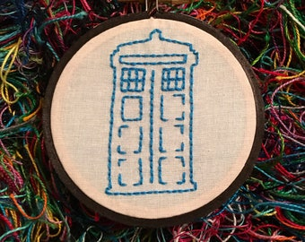 Police Box Sketch Hand Embroidery - Home Decor Fan Art