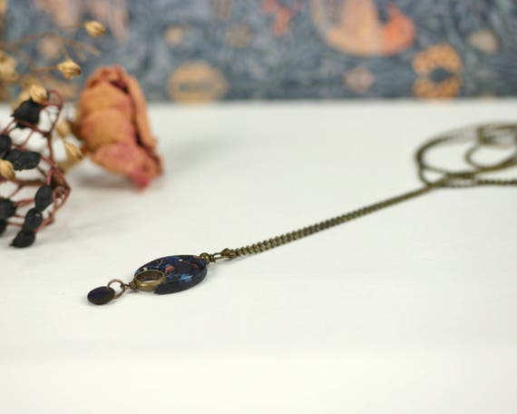 Long necklace, black pendant, dark blue vegetal patterns, minimal design, textile like necklace  'Nelumbo'