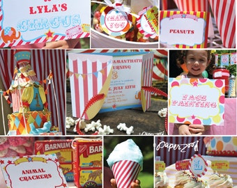 INSTANT DOWNLOAD,  Step Right Up CIRCUS Girl Birthday Printable Party Package, You Edit Yourself in Adobe Reader