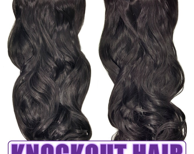 "Fits like a Halo Hair Extensions 20"" - 150 Grams 100% Premium Fiber Wavy Hair (Natural Black #02)"