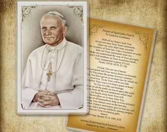 Saint John Paul II Holy Card or Wood Magnet  #0111