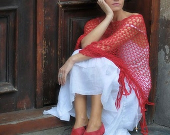 Red Poncho - delicate like a mist - READY TO SHIP