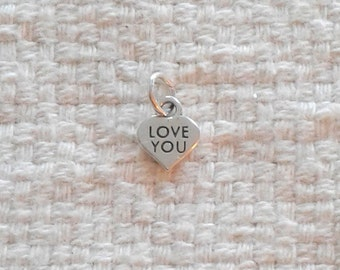 "Sterling Silver ""LOVE YOU"" Heart Charm - 5/16 x 3/8"""