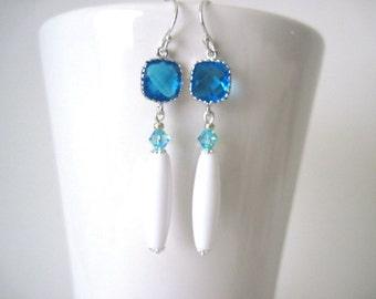 long silver and aqua  earrings    long earring  turquoise earrings