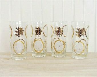 Vintage Gold Leaf Glasses Libbey Leaf Glasses Mid Century Leaf Glasses Leaf Tumblers Autumn Leaf Glasses Gold and White Leaf Glasses