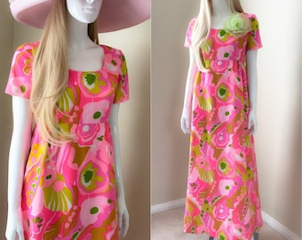 60's MOD Baby Doll Maxi Dress, Bold Pink Floral Bridesmaid Dress w Empire Waist - size xs