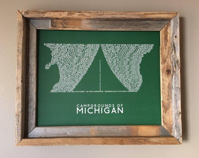 Michigan Campgrounds Word Art Print (Green) - Unframed